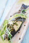 Poached trout with green pepper