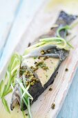 Trout with green pepper