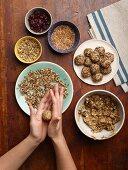 Making sweet grain balls