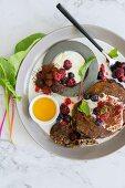 Chocolate pancakes with yoghurt and fresh berries