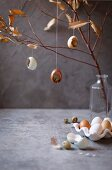 Fresh eggs and Easter decorations