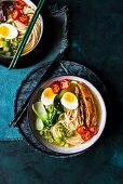 Pork miso soup with ramen, pork belly and vegetables