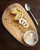 Tarte Normande with cinnamon, brandy mascarpone and apple rings