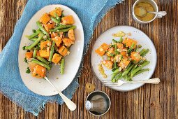 Sweet potato and green bean salad with shallots and musztard vinegrette