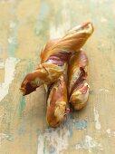 Lye breadsticks with ham