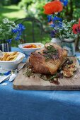 A veal roast with peppers and baked dumplings