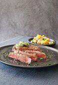 Ribeye steak with Greek salad
