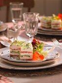 Cucumber and salmon terrine on a festive Christmas table