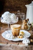 Coffee with whipped cream and white chocolate