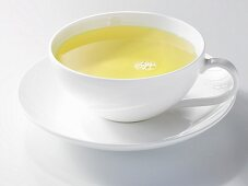 White tea in a porcelain cup