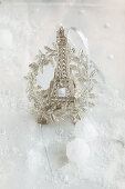 Festive arrangement with silver Eiffel Tower