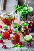 Cherry drink with lime and mint