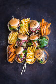 Various mini burgers and french fries