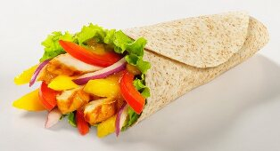 Roasted chicken and peppers whole wheat wrap