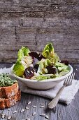 Chicory and romaine lettuce with beetroot, crostini and parsley pesto