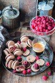 Homemade chocolate raspberry macarons
