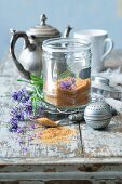 Brown sugar with lavender blossoms