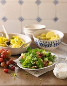 Parsley pasta, potatoes and a mixed salad with buttermilk dressing