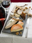 A French cheese platter with wine