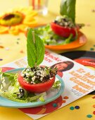 Tomato boats with sheep's cheese salad for a music party