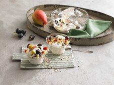 Yoghurt and quark with fruit