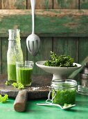 Kale crisps, smoothies and pesto