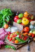 Tomato salad with basil and garlic