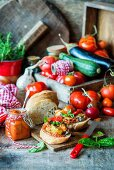 Bread with tomato sauce and roasted vegetables