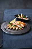 Salmon fillet with an asparagus salad