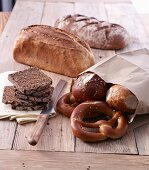 Various breads, pretzels and rolls
