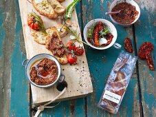 Bruschetta with dried tomatoes and garlic