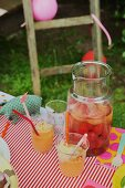 Apricot smoothies with vanilla ice cream for a children's party in the garden