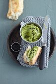 Kale houmous with black seeds
