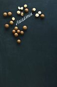 Macadamia nuts, whole and hulled, arranged around the word 'macadamia' written in chalk on a blackboard