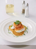 Eggs and Smoked Salmon On Blini