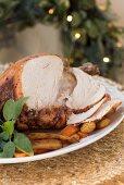 Roast turkey, sliced, for Christmas dinner