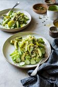 Mixed green salad with herb and cashew dressing (vegan)