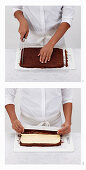 Chef trims all egdes of the baked roulade and rolls the cake up