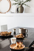 Apple pie on dark dining table