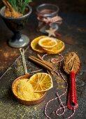 Christmas spices (orange powder, cinnamon, dried orange)