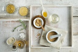 Homemade mustard and ingredients