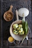 Wild garlic and potato dumplings with Béarnaise sauce