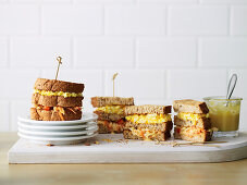 Egg and Coleslaw Double-Decker Sandwiches
