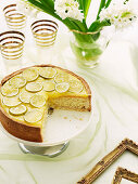 Limetten-Kokoskuchen mit Lime Curd und kandierten Limettenscheiben