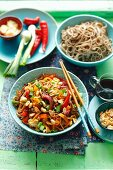 Soba noodles with vegetables and peanuts