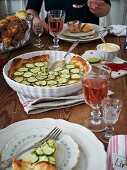 Zucchini tart served with mayonnaise (Sweden)