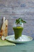 Watercress gazpacho in a glass