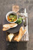 Crostini with nectarine and herb salad