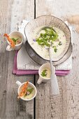 Cold wild herb and potato soup with coppa