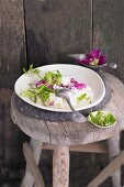 Rose petal risotto with wild herbs